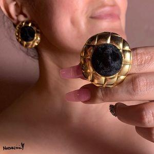 Vintage Velvet Quilted Gold Tone Clip-On Earrings